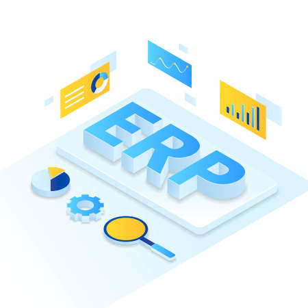 ERP Enterprise resource planning illustration isometric style. Illustration for websites, landing pages, mobile applications, posters and banners