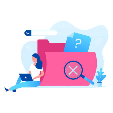 Data search not found illustration vector concept. Illustration for websites, landing pages, mobile applications, posters and banners Иллюстрация
