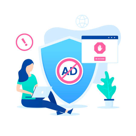 Ad blocking software vector concept. Illustration for websites, landing pages, mobile applications, posters and banners