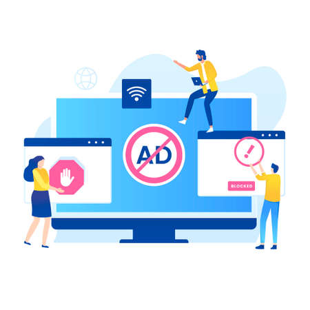 Adblock illustration vector concept. Illustration for websites, landing pages, mobile applications, posters and banners