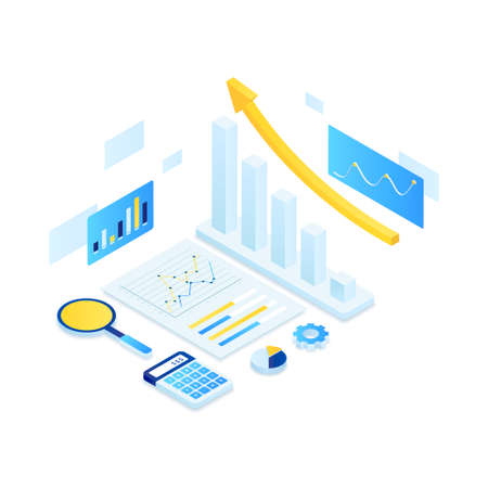 Online audit illustration isometric concept. Illustration for websites, landing pages, mobile applications, posters and banners Иллюстрация