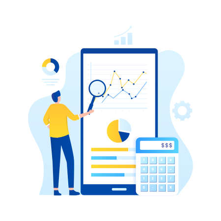 Online audit illustration concept. Illustration for websites, landing pages, mobile applications, posters and banners Иллюстрация