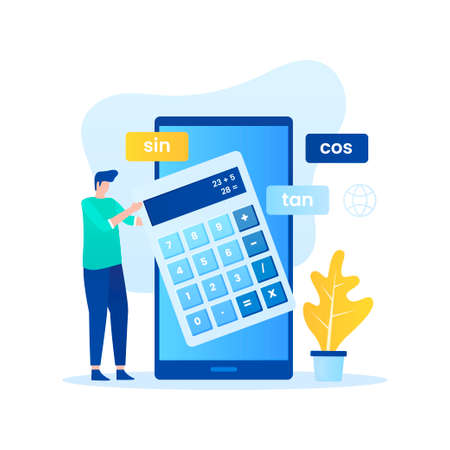 Online calculator flat illustration concept. Illustration for websites, landing pages, mobile applications, posters and banners