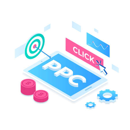 Pay per click illustration concept. Illustration for websites, landing pages, mobile applications, posters and banners Иллюстрация