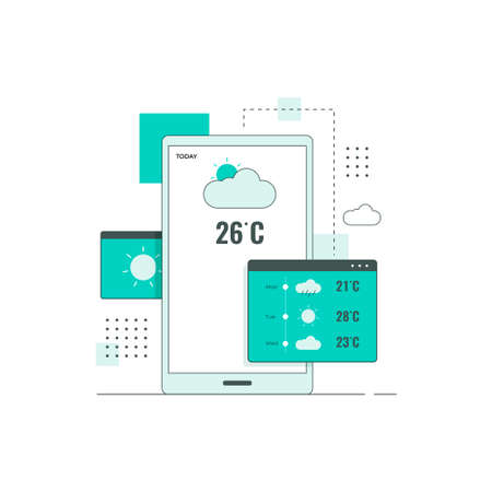 Flat line design concept of weather forecast concept. Illustration for websites, landing pages, mobile applications, posters and banners