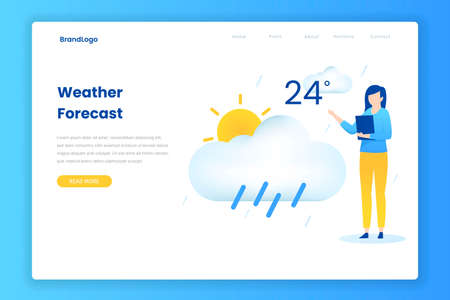 Flat design concept of weather forecast concept. Illustration for websites, landing pages, mobile applications, posters and banners