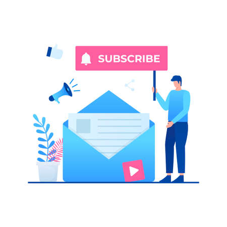 Subscribe to our newsletter illustration concept. Illustration for websites, landing pages, mobile applications, posters and banners