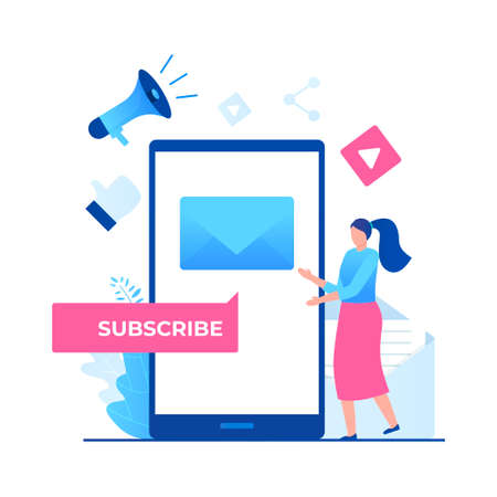 Subscribe vector illustration concept. Illustration for websites, landing pages, mobile applications, posters and banners Иллюстрация