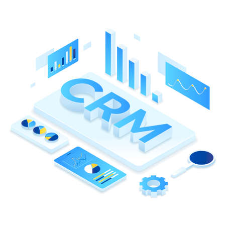 CRM solution isometric illustration concept. Illustration for websites, landing pages, mobile applications, posters and banners