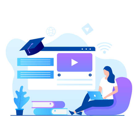Flat design of online courses illustration. Illustration for websites, landing pages, mobile applications, posters and banners Иллюстрация