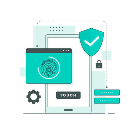 Flat line illustration of fingerprint. Illustration for websites, landing pages, mobile applications, posters and banners