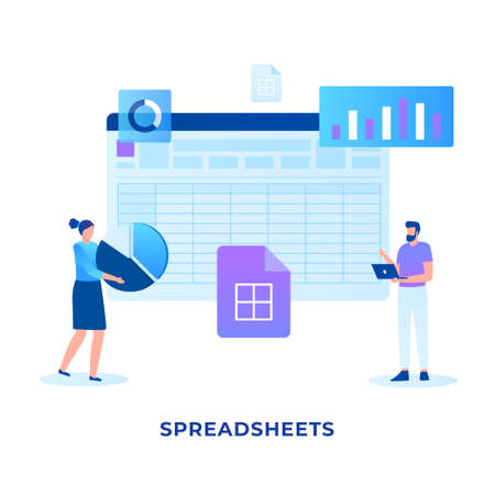 Flat illustration spreadsheets concept. Illustration for websites, landing pages, mobile applications, posters and banners.