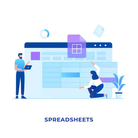 Spreadsheets illustration concept. Illustration for websites, landing pages, mobile applications, posters and banners.