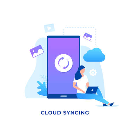 Cloud syncing illustration concept. Illustration for websites, landing pages, mobile applications, posters and banners