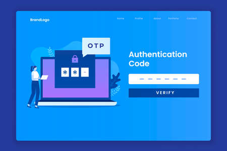 OTP code landing page illustration concept. Illustration for websites, landing pages, mobile applications, posters and banners.