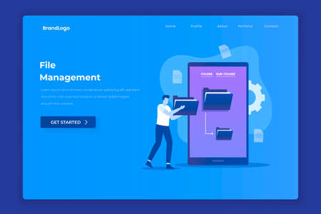 File management illustration concept. Illustration for websites, landing pages, mobile applications, posters and banners.