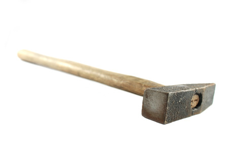 Old Hammer on White Background photo