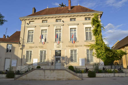 bourgogne: Town hall in French town in the Bourgogne