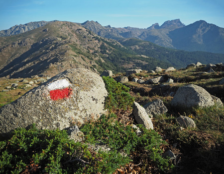 mountain trek - granite boulder marked with red and white wih blue sky and grass