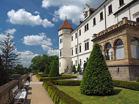 Czech state castle chateau Konopiste with garden