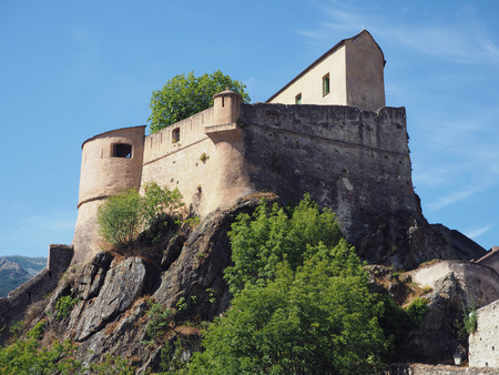 old castle of Corte, Corse, France with blue sky background Editorial