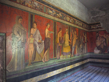 wall fresco in Pompeii house Villa of the Mysteries, before 79 C.E