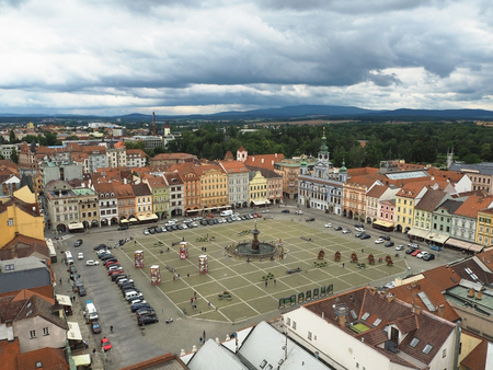 CZECH REPUBLIC, CESKE BUDEJOVICE, JULY 15, 2016: View on the main square in city center from black tower town hall wit dramatic clouds Editorial