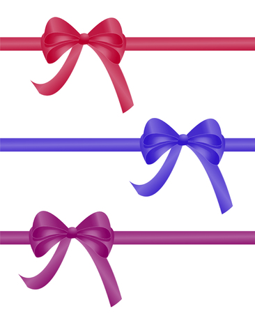 christmas gift pack red blue and purple bow ribbon collection  3d realistic vector illustration isolated on white background