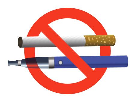 Blauwe e-sigaret en sigaret in rode cirkel realistische vectorillustratie. Niet roken, geen vapeteken.