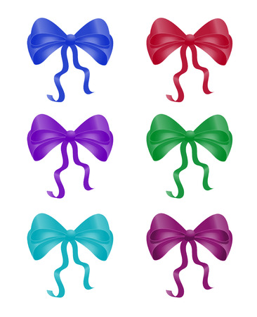 Set of colorful bow knot. Silk ribbon for collection for Christmas gift packing
