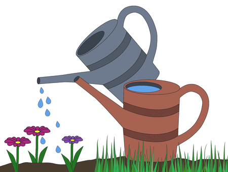 Two watering can in isolated background. Watering can watering pink violet daisy flower. cartoon vector illustration