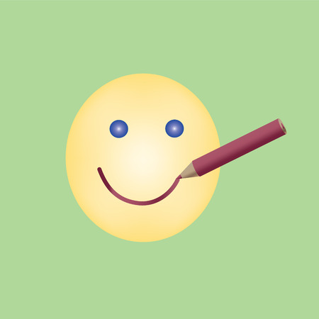 drawn smile by red pencil on yellow emoticon concept keep smiling