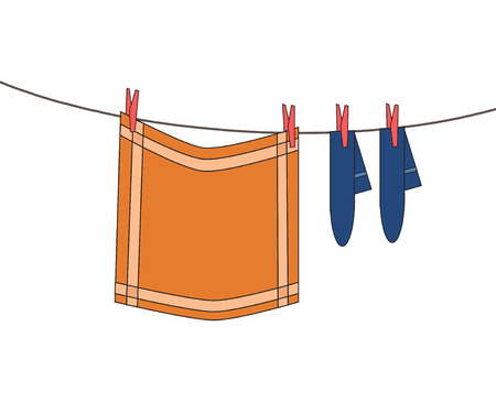 clothes line with hanging washed orange clothes dish cloth and blue socks with red pegs Ilustrace