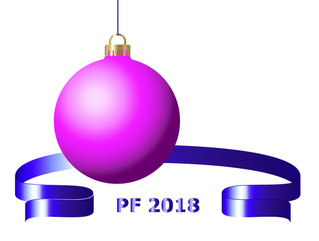 Pink christmas ball 3d with blue ribbon and PF 2018 text