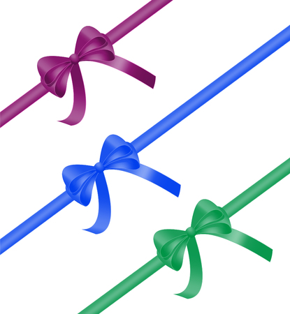 Christmas gift pack ribbon bow collection in purple, blue and green color. 3d realistic vector illustration isolated on white background Illustration