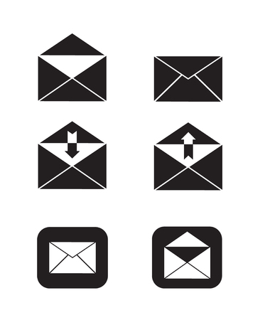 open and close e-mail send and received mail icon set simple flat black and white vector