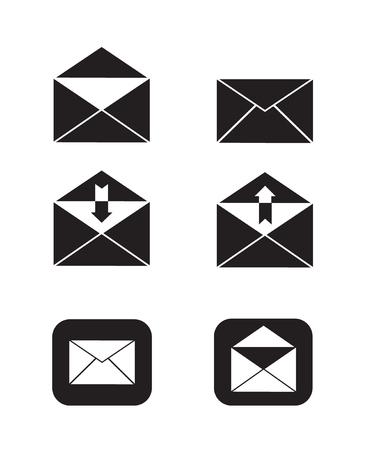 openen en sluiten van e-mail verzenden en ontvangen e-mail icon set eenvoudige platte zwart-wit vector