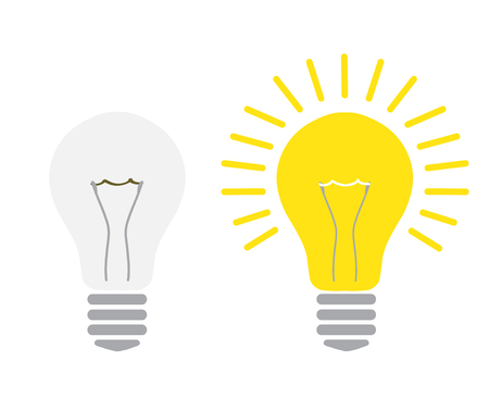 light off and light on lightbulb glowing and turned off electric light bulb realistic vector illustration concept idea