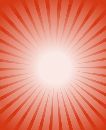 Orange red burst background. Orange glowing warm rays from white center. Illustration