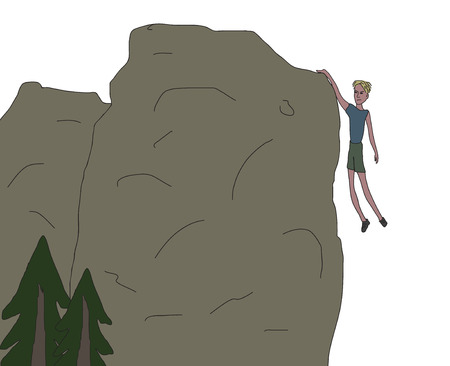 Young men hanging from the rock only one hand, near falling off the cliff. Rough sketch vector illustration.