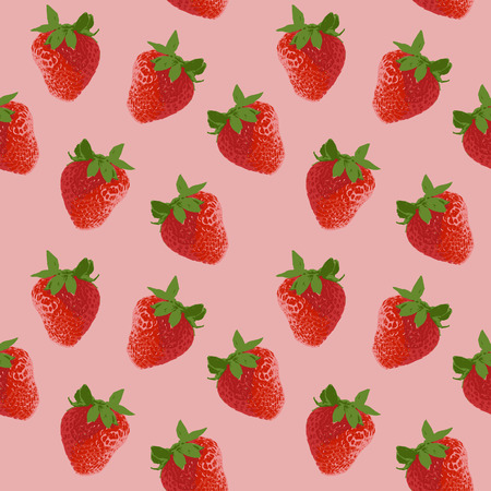 Realistic red strawberry with green leaves and seamless pattern on pink background