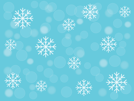 Snowflakes and snowball on turquoise blue christmas background