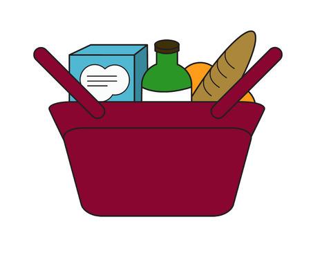 Red woman purse hand bag full of shopping purchase food, bread, bottle, milk box, orange. simple flat vector cartoon illustration