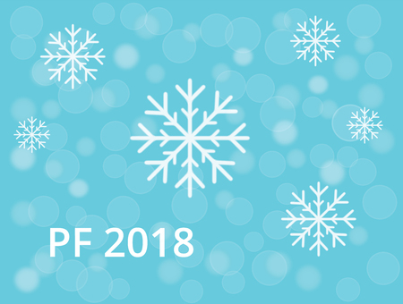 PF 2018 with snowflake and blue bokeh snow and rings background
