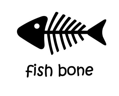 白い単純なベクトル上に隔離されたテキストを持つ黒い魚の骨格の魚の骨
