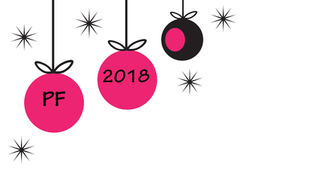 PF 2018 with hanging christmas ball baubles and star in simple flat retro style pink and black vector illustration