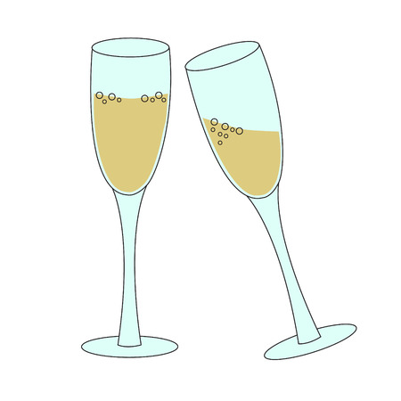 Two Tall Glasses Of Sparkling Wine Champagne Bubbly - Concept ...