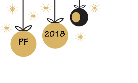 PF 2018 with hanging christmas ball baubles and star in simple flat retro style gold and black vector Illustration