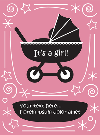 Girl in pram baby carriage cute flat black and white picture with sign it is a girl and place for text on blue decorative background retro baby shower template vector illustration