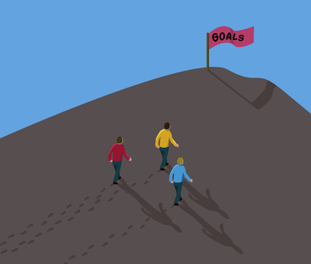 goal reach concept achieve the target three men team walking in dirt up to hill with red flag sign text goals  Ilustração